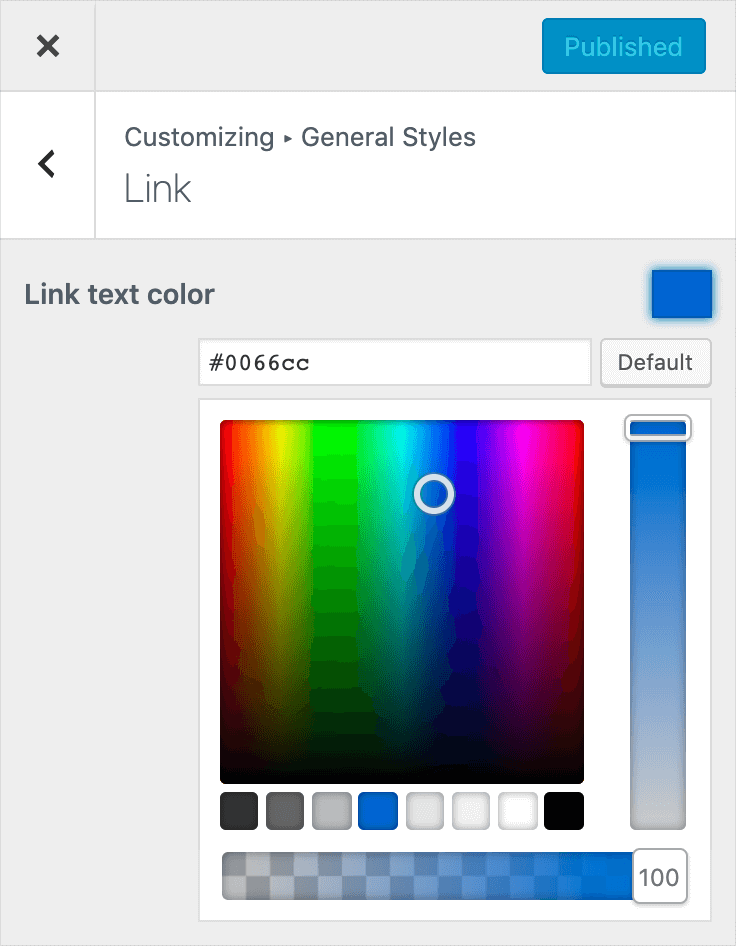 Color customizing options